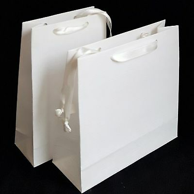 10 White Small Luxury Paper Gift Party Bags Satin Handles Hen Wedding Birthday