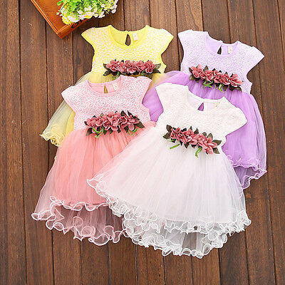New Toddler Kids Baby Girls Summer Floral Dress Princess Birthday Party Dresses