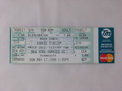 New York Yankees David Wells Perfect Game Bleacher Ticket Ticketmaster 5/17/1998