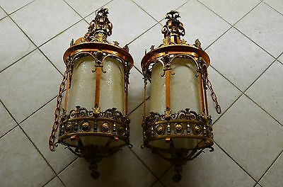 Amazing Pair of Heavy Antique Solid Brass & Copper Chandeliers