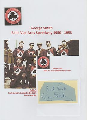 George Smith Belle Vue Aces Speedway 1950- 1953 Rare Orig Hand Signed Cutting