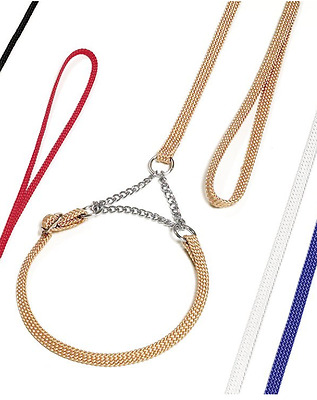 Karlie Dog Show Lead 🐕 Rose Gold Nylon With Choker Collar 🐩 120cm Crufts