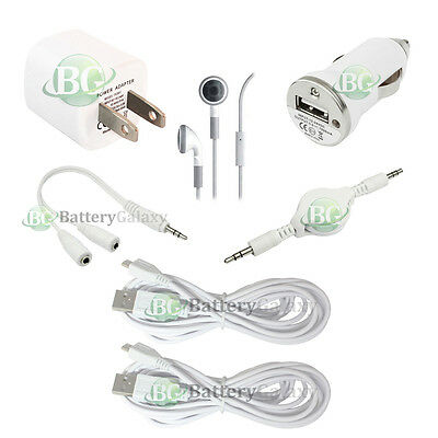 7 pc 2x 10FT USB Micro Cable+2x Car/Wall Charger+Headset for Android Cell Phone