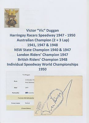 Speedway Autographs 1950's X 4 Hand Signed Incl Vic Duggan Cliff Watson 1 X Page