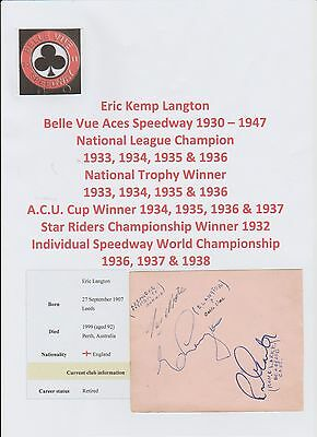 Speedway Autographs 1940S-50S X 6 Hand Signed Incl Eric Langton & Bill Longley