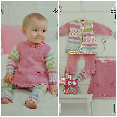 KNITTING PATTERN Baby Jacket, Dress with Pockets & Leggings DK King Cole 4203