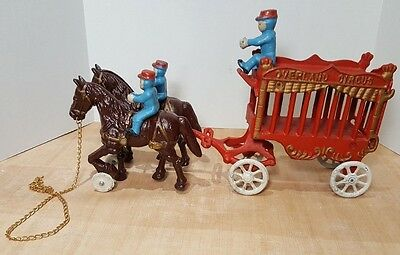 Vintage Overland Circus Cast Iron Horse Drawn Wagon Toy Large