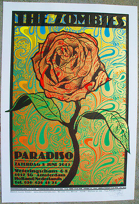 "The Zombies Silkscreen ""golden Rose"" Concert Poster Signed Numbered Sperry Jc81"