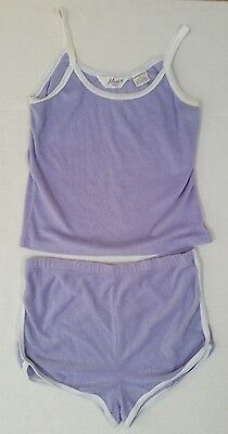 Vintage MAEVE PURPLE TERRY CLOTH SHORTS & TANK OUTFIT--Size S/M/L