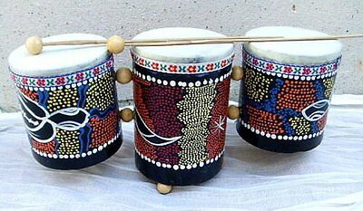 Hand Painted Traditional Javanese Triple Bongo/djembe/drums.fairtrade
