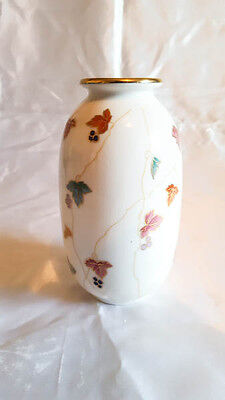 Chinese porcelain vase with hand painted vine design, signed
