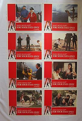 """Set of 8 James Bond 007 FOR YOUR EYES ONLY Movie Posters Lobby Cards 14"""" x 11"""""""