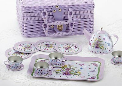 15 pcs Tin Tea Set with Picnic Basket for Kids Role Playing Functional Durable