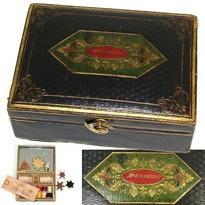 "Rare Antique 1838 Embossed Leather Sewing Necessaire, Box: ""Souvenir"", Thimble +"