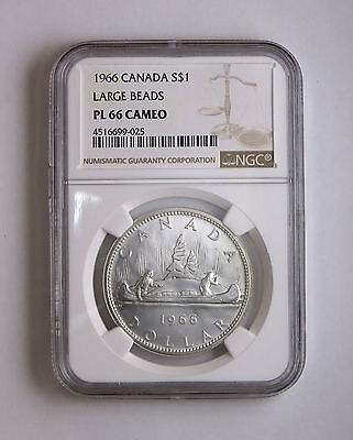 1966 S$1 Canada Silver Dollar Large Beads NGC PL 66 Cameo