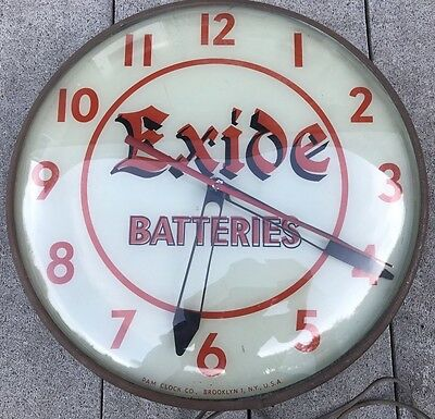 Authentic Rare Exide Battery 100% Original Lighted Advertising Pam Clock Sign