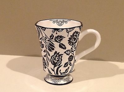 Marie Osmund Black & White Floral Coffee Cup Mug by Giftcraft