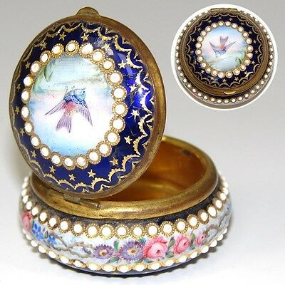 Antique French Bresse Kiln-fired Enamel Patch Box, Pill or Snuff, Jeweled, Bird