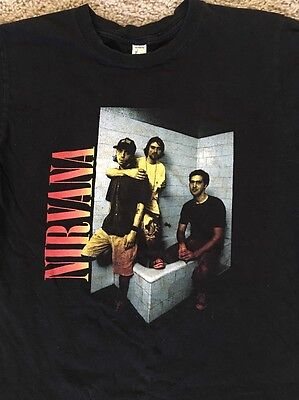 VINTAGE Nirvana Kurt Cobain Grohl Concert 90's Tour T-Shirt Retro MEDIUM