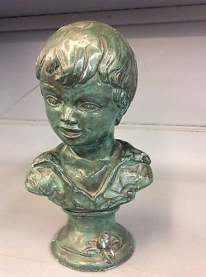 Vintage Shabby Chic Chalkware Sculpture Statue Bust of Boy Chippy Green