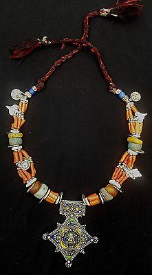 Beautiful silver Berber necklace with enameled Boghdad, genuine coral, amber, am