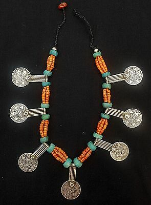 Morocco - Splendid Berber necklace, genuine coral beads, amazonite and ancient s