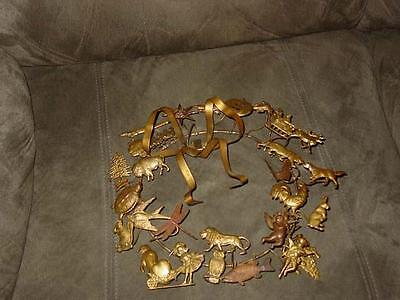 Vintage Antique Brass - 26 pcs PETITE Dresden Style Metal - ALL-HOLIDAY WREATH