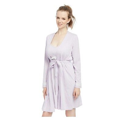 NWT Oh Baby! Motherhood Nursing, Maternity lilac or teal Gown & Robe Set small