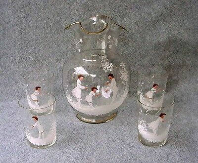 Antique Mary Gregory Lemonade Set Hand Painted Art Glass Pitcher With 4 Tumblers
