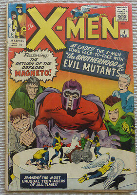 X-MEN # 4, ORIGINAL MARVEL SILVER AGE with MAGNETO & EVIL MUTANTS