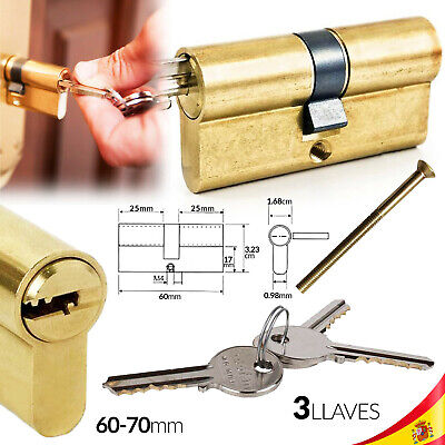 Bombin 60 Mm Cilindro Cerradura 3 Llaves Candado Dorado Lock Core Keys Door