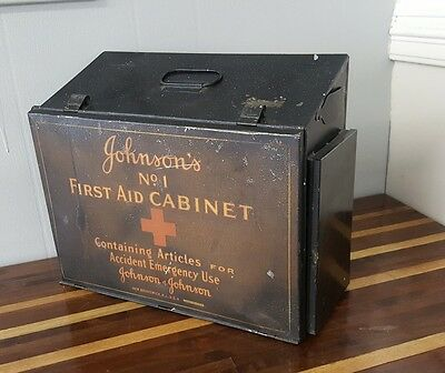 Vintage Johnson's No 1 First Aid Cabinet Metal Tin Johnson & Johnson Emergency
