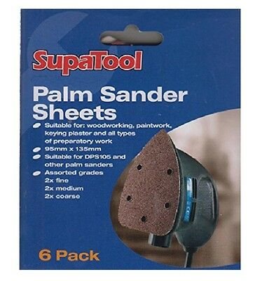 95mm x 135mm Palm Sander Sheets - Sanding Pads - Velcro - Mixed Pack