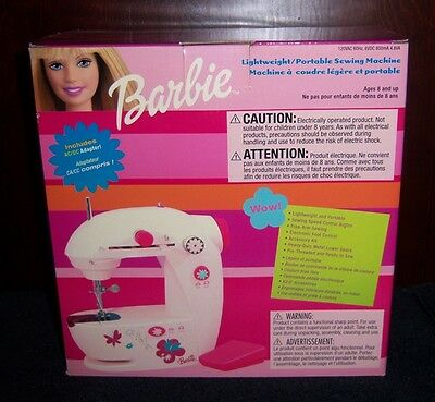 Barbie Lightweight Portable Sewing Machine with AC/DC Adapter - NEW 2003