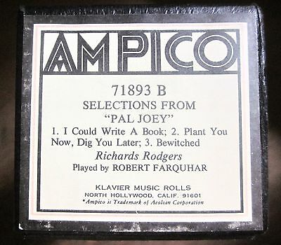 AMPICO 'ReCut' Player Piano Roll #71893-B SELECTIONS FROM PAL JOEY - Farquhar