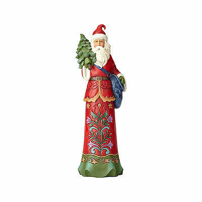Jim Shore Christmas Folk Art Tall Santa Claus With Tree  New 2017 4058789