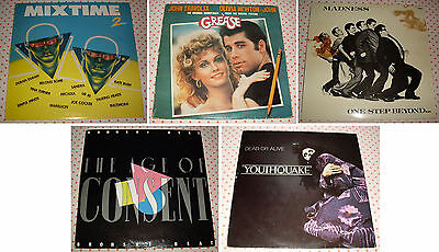 Lotto 5 Dischi Vinile LP 33 Giri - GREASE - MADNESS - MIX TIME 2 - Anni 70-80