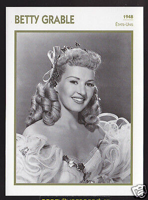 BETTY GRABLE Actress Movie Star FRENCH ATLAS PHOTO BIO CARD