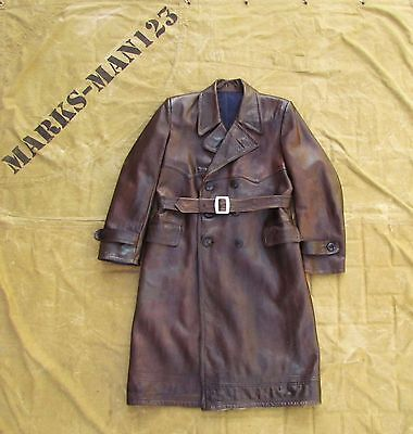 Vintage Russian Military Uniform Leather Trench Coat NKVD WW2 Officer USSR!!!