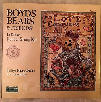 Boyds Bears & Friends 1st Edition Rubber Stamp Kit, Bailey's Hearts Desire Love