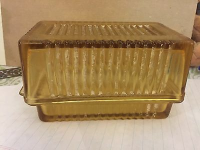 Vintage Yellow Depression Glass 1 Pound Ribbed Covered Butter Dish Cream Cheese