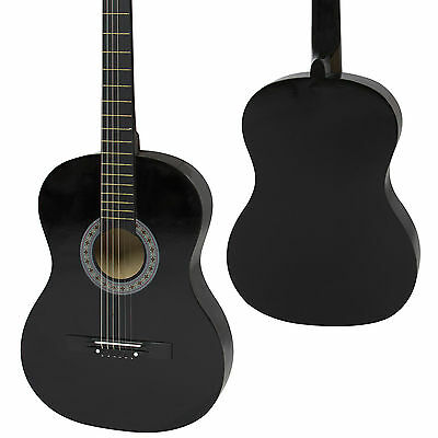 """Zeny 38"""" New Beginners Acoustic Guitar With Guitar Case, Strap, Tuner (Black)"""