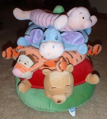 "Disney Baby Winnie The Pooh Tigger Eeyore Plush Ring Toss Stacking Toy 16"" EUC"