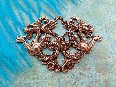 ANTIQUE COPPER Double Medieval DRAGONS Stamping ~ Jewelry Findings (C-1201) *