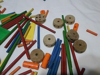 Miscellaneous Lot of Vintage Tinker Toys -- lots of odd pieces