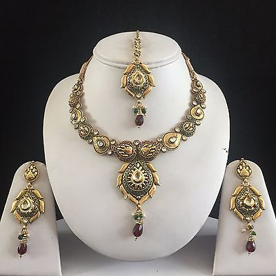 Green Red Gold Indian Kundan Mughal Costume Jewellery Necklace Earrings Set New