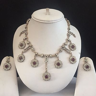 Red Gold Turkish Indian Mughal Costume Jewellery Necklace Earrings Set New Gift