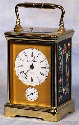 French Tiffany L'Epee Repeater Striking Carriage Clock Limoges Porcelain Panels