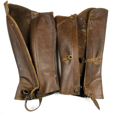 Us Wwi Officers Soft Leather Leggings Gaiters Spats Pair Aef Cavalry ?