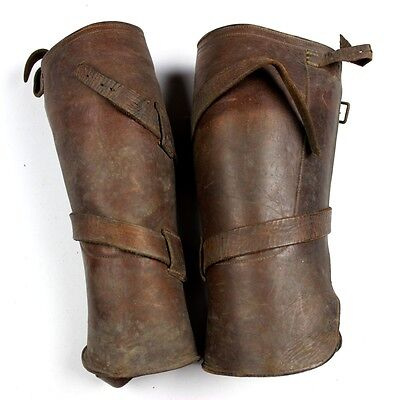 Us Wwi Officers Hard Leather Leggings Gaiters Spats Pair Aef Expeditionary